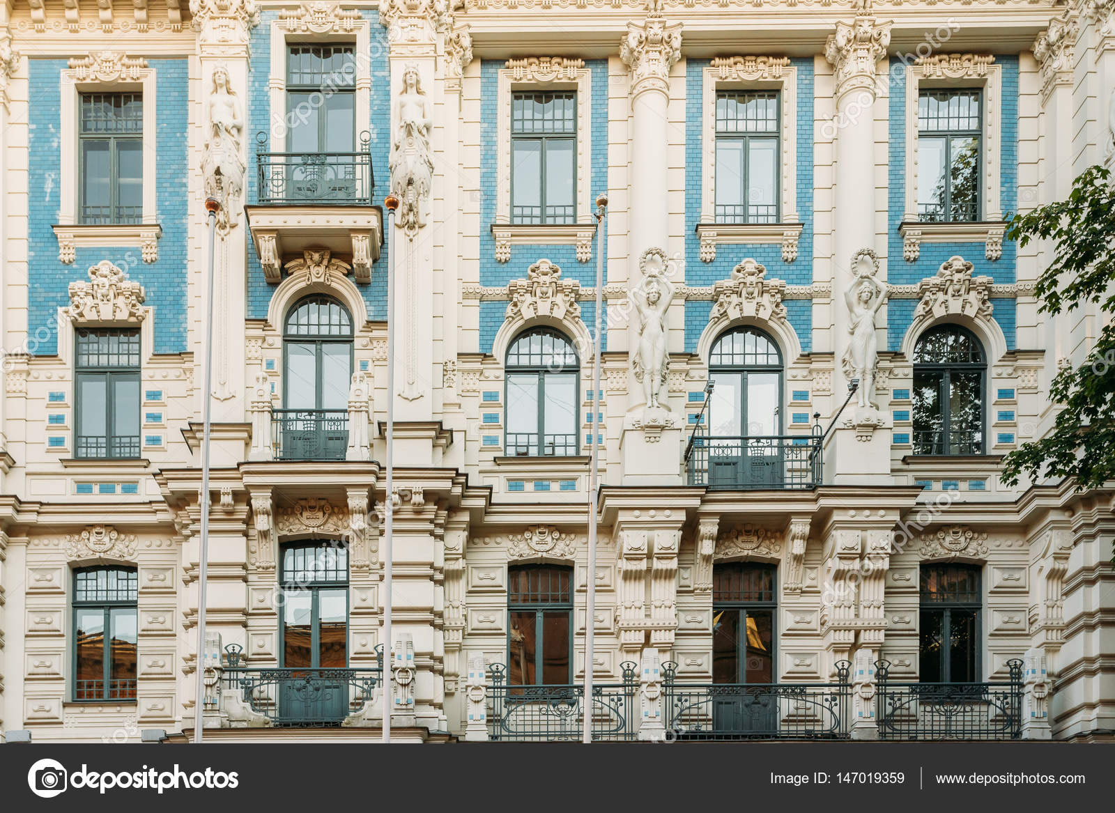 riga latvia facade of art nouveau building designed by mikhail