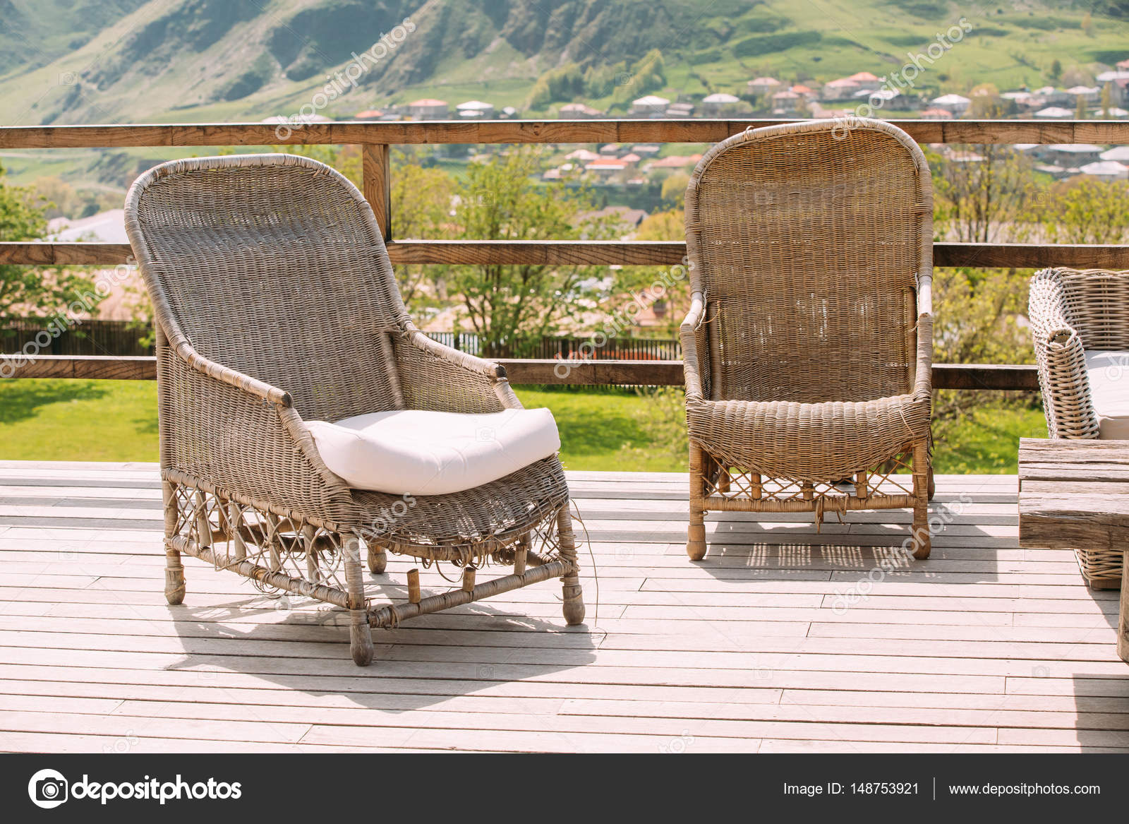 Wicker Furniture On Balcony At Sunny Day Home Exterior With  # Muebles Sunnies