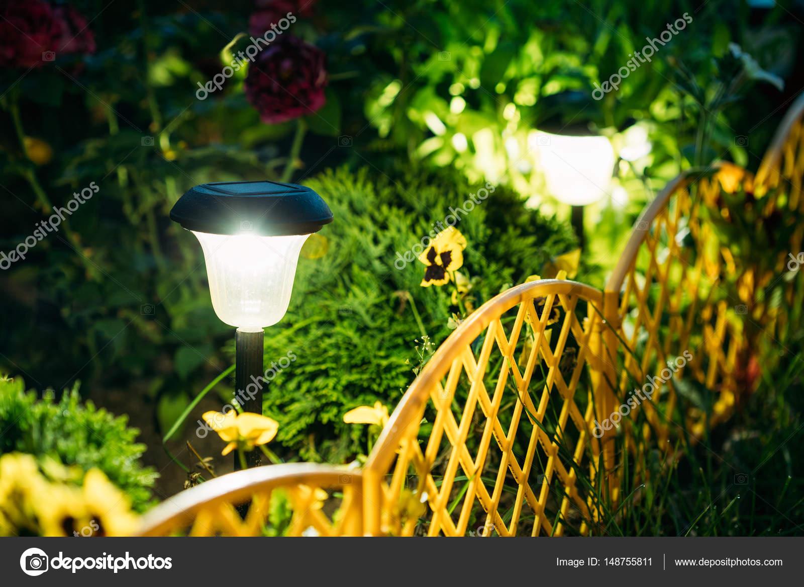Small Solar Garden Light, Lantern In Flower Bed. Garden Design ...