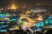 Tbilisi, Georgia. Night Cityscape With Famous Landmarks. Rike Park