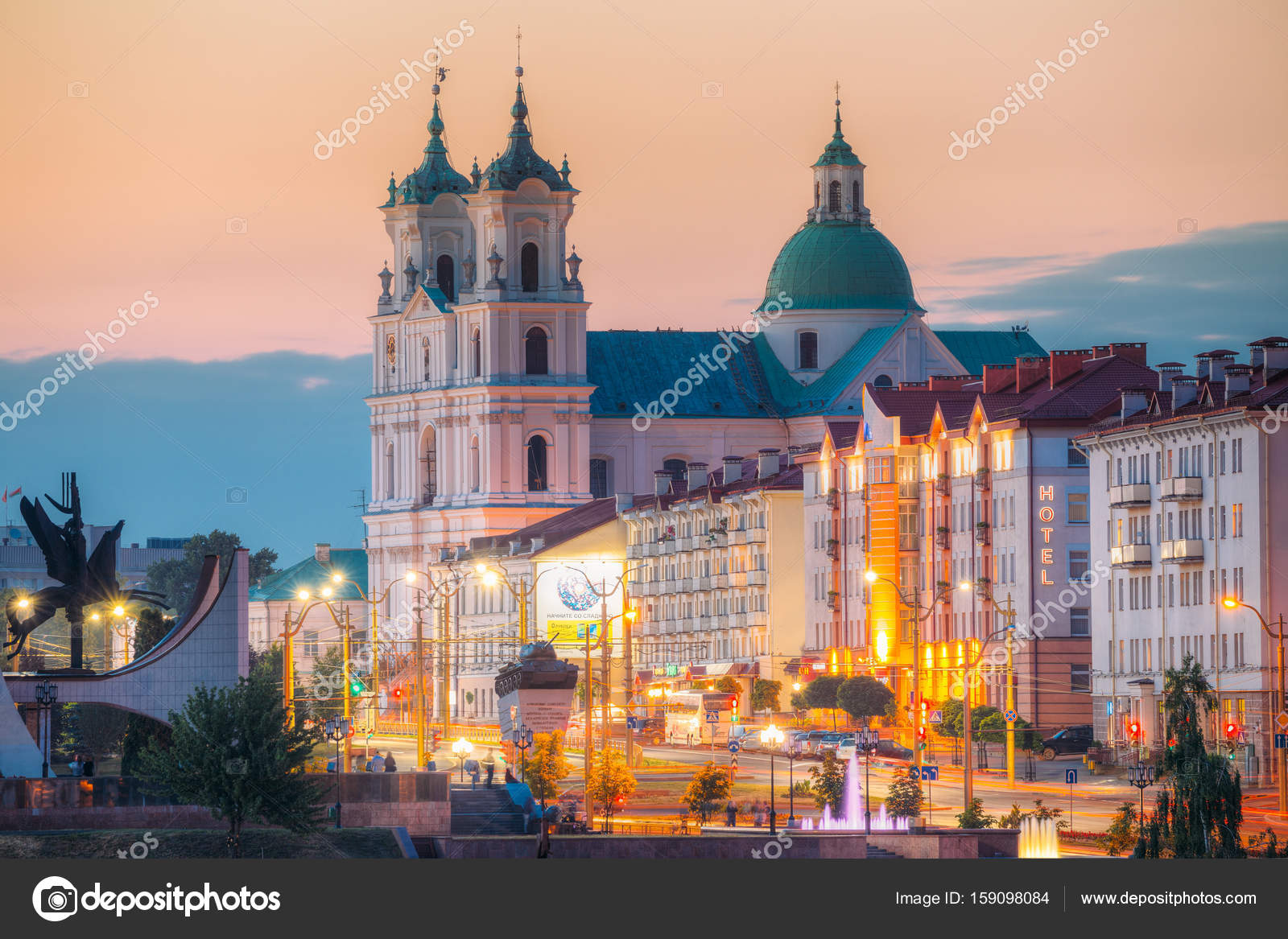 Grodno, Belarus. St. Francis Xavier Cathedral And Traffic ...