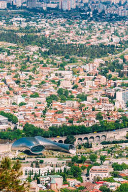 Tbilisi Georgia. Aerial View Of New Cultural Center, Rike Park,