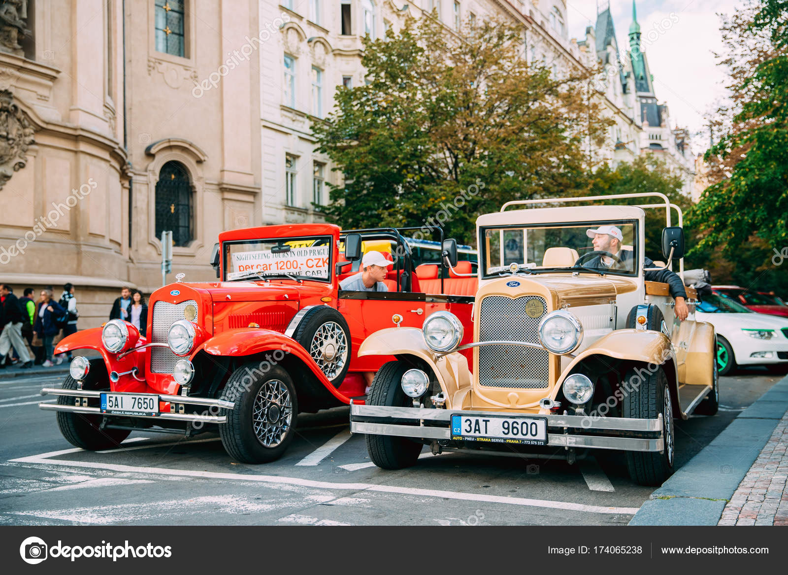 Prague, Czech Republic. View Of Parking Retro Old Vintage Cars Ford ...