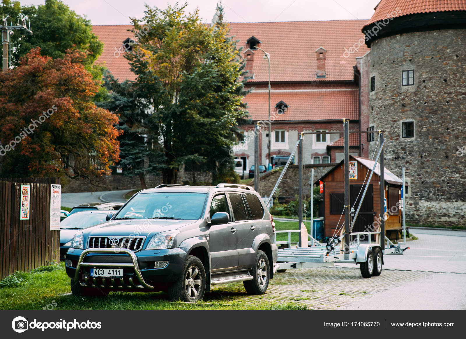 Toyota Land Cruiser Prado Serie 120 Car Of Grey Metallic With Suv Cesky Krumlov Czech Republic September 25 2017 Front View Trailer Parked In Street