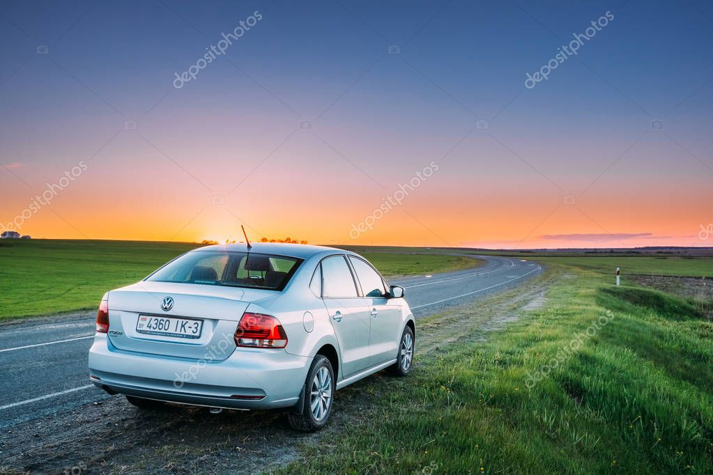VW Volkswagen Polo Vento Sedan Car Parking Near Asphalt Country