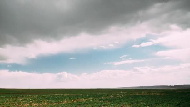 Time Lapse Time-lapse Timelapse Of Countryside Rural Field Spring Meadow Landscape Under Scenic Dramatic Sky Before And During Rain. Rain Clouds On Horizon. Agricultural And Weather Concept