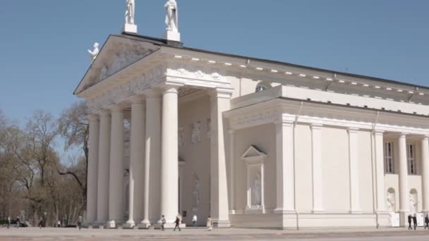 Vilnius, Litva. Náměstí poblíž Katedrála Basilica rákosem a St. Vladislav s zvonice v jarní den