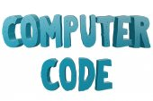 Fotografie Computer Code text for Title or Headline in 3D style with small cuts on the letters