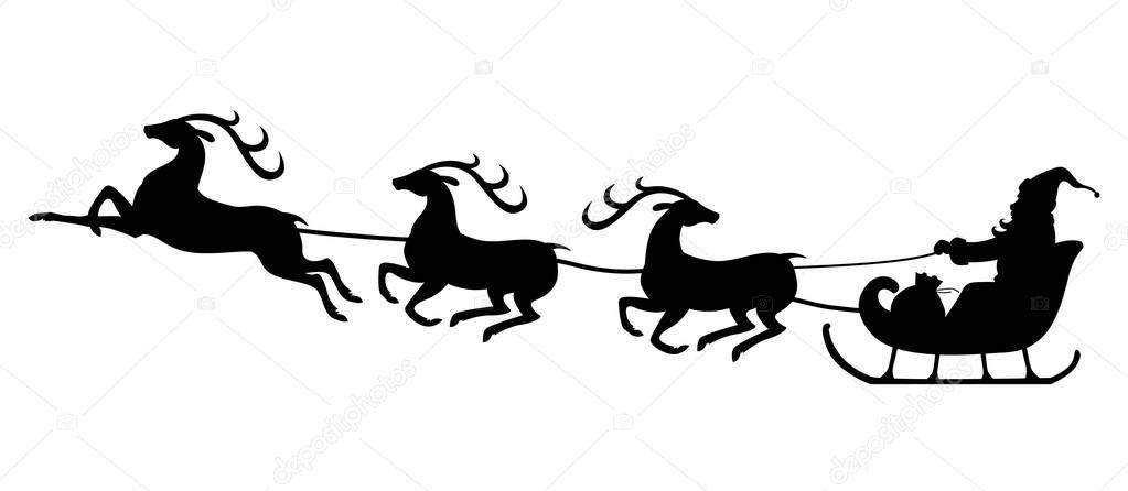 weihnachten silhouette santa auf rentier schlitten fahren. Black Bedroom Furniture Sets. Home Design Ideas