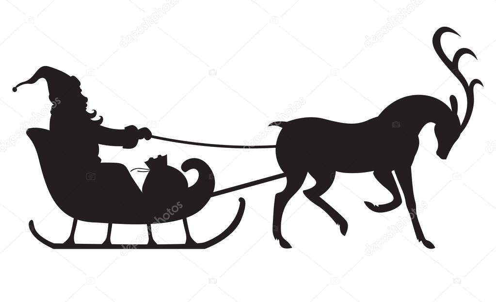 Weihnachten silhouette Santa auf Rentier-Schlitten fahren ...