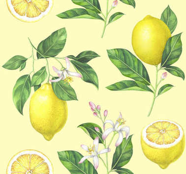 Lemon pattern on yellow background. Hand drawn watercolor illustration. stock vector