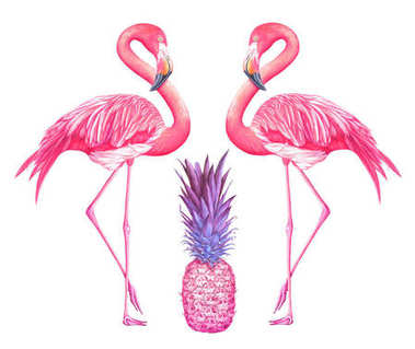 Two watercolor flamingos with pink pineapple isolated on white background.