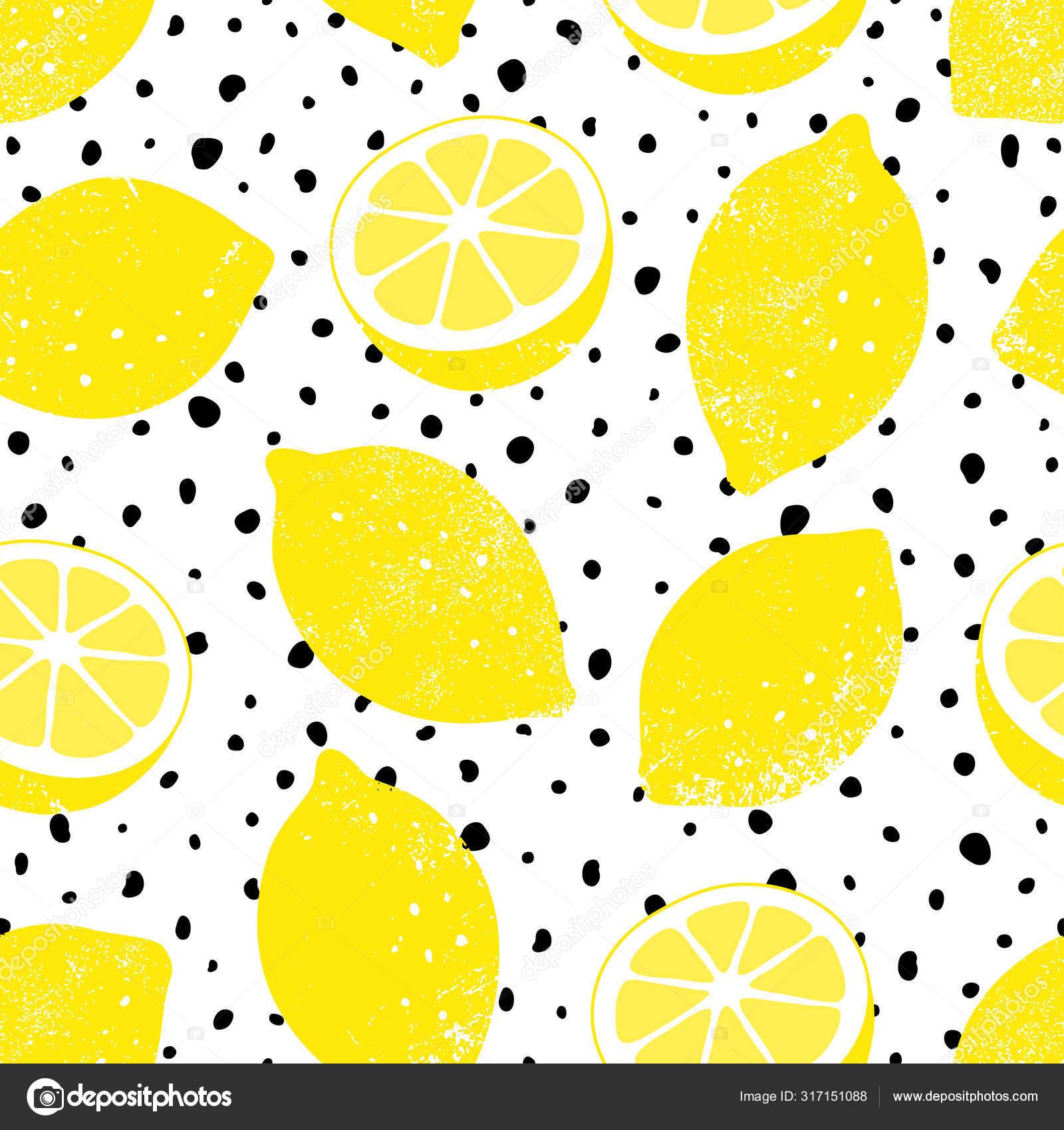 Vector Seamless Lemon Pattern With Black Dots Trendy Summer