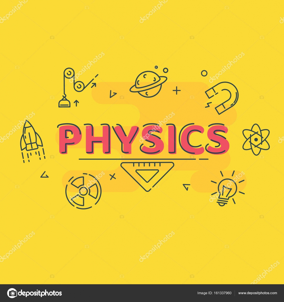 Vector Outline Science Symbol Made With Word Physics And Icons