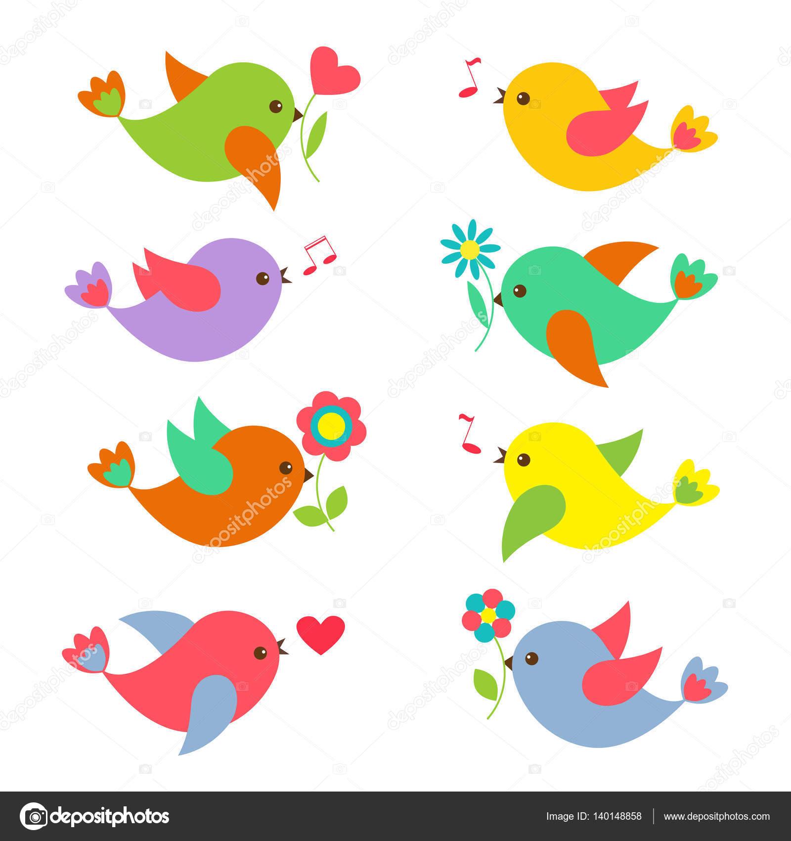 Pássaros Coloridos Da Primavera Com Flores Vetores De