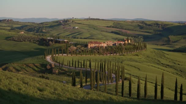 Winding or drunk road in Tuscany. Surroundings of the city Monticello. Long Shot