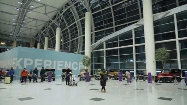 Moscow Airport Domodedovo, Russia - January 07, 2020: POP-UP EXPERIENCE exposure