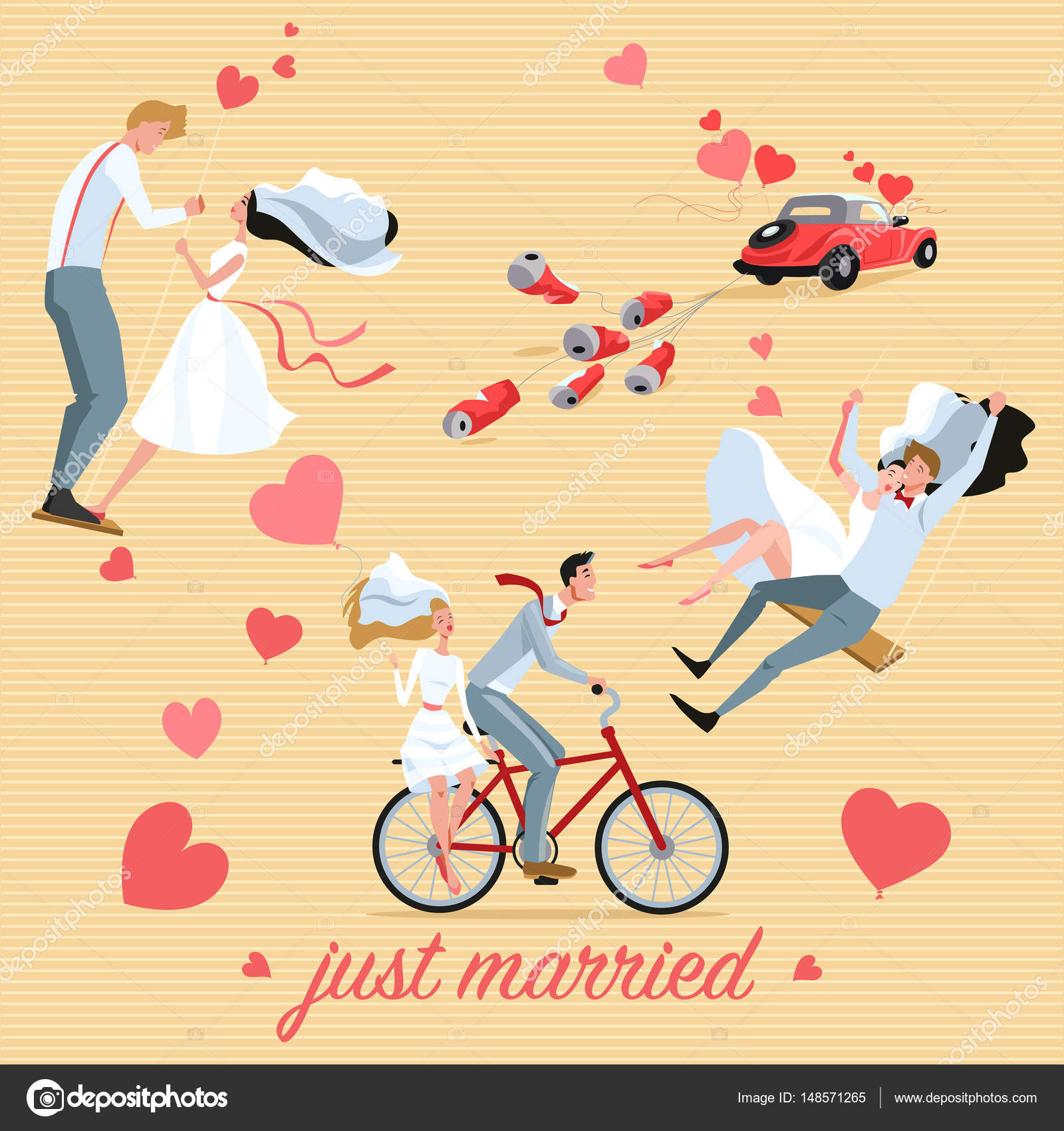 Illustrations d un couple de mariage et mariage voiture style dessin anim image vectorielle - Dessin voiture mariage ...