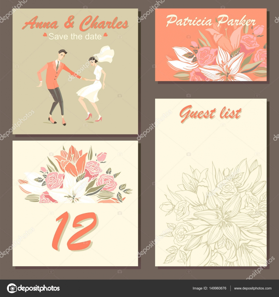 Set of wedding invitation cards with a floral pattern and a cute ...