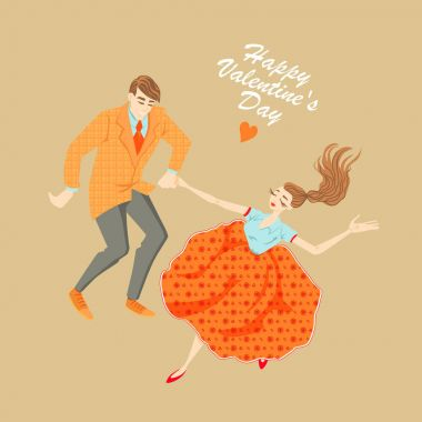 Young couple dancing lindy hop