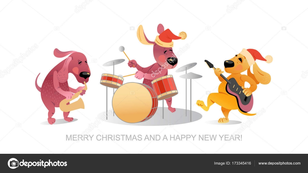 New Year\'s card with funny dogs playing musical instruments — Stock ...