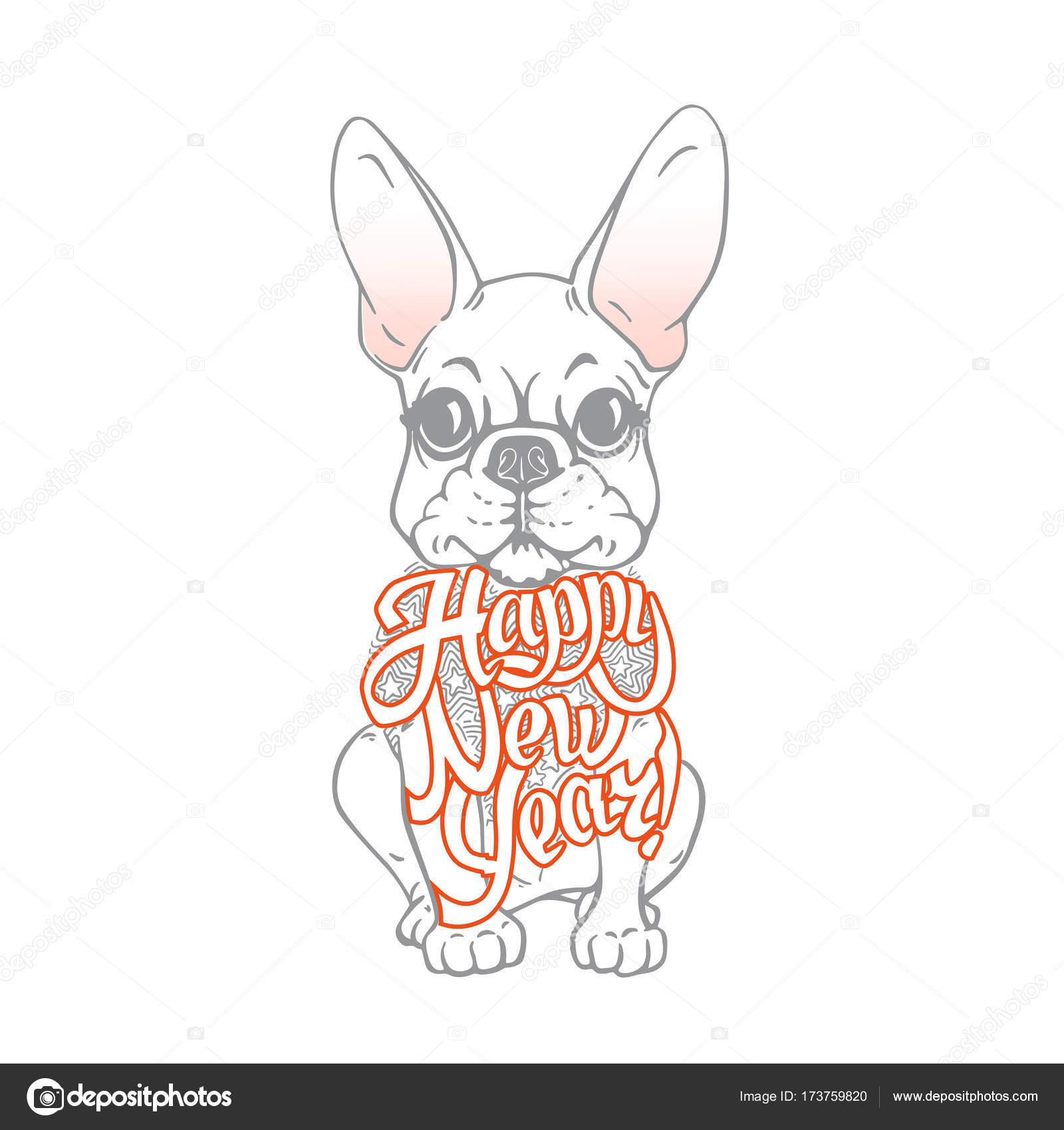 New Year\'s card with funny dog. Bulldog — Stock Vector ...
