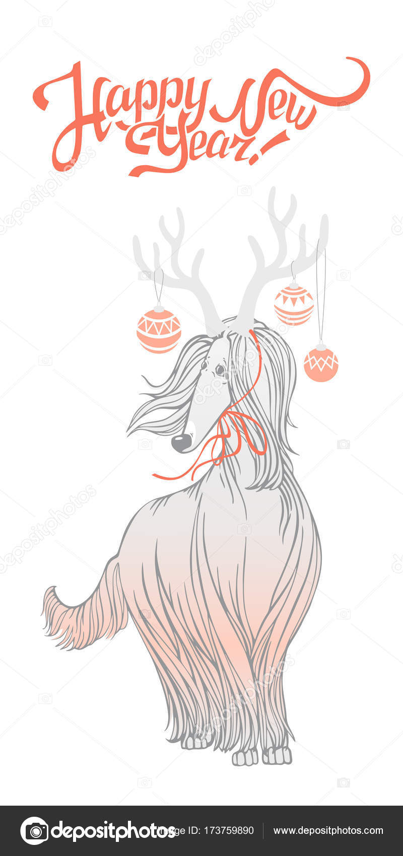 New Year\'s card with funny dog. Afghan hound — Stock Vector ...