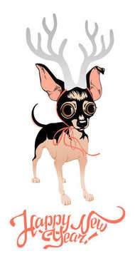 New Year's card with funny dog. Toy Terrier