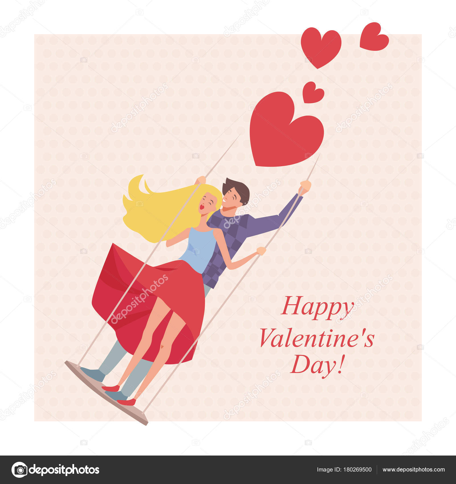 Greeting card valentine day cartoon style lovers swing stock greeting card valentine day cartoon style lovers swing stock vector kristyandbryce Images