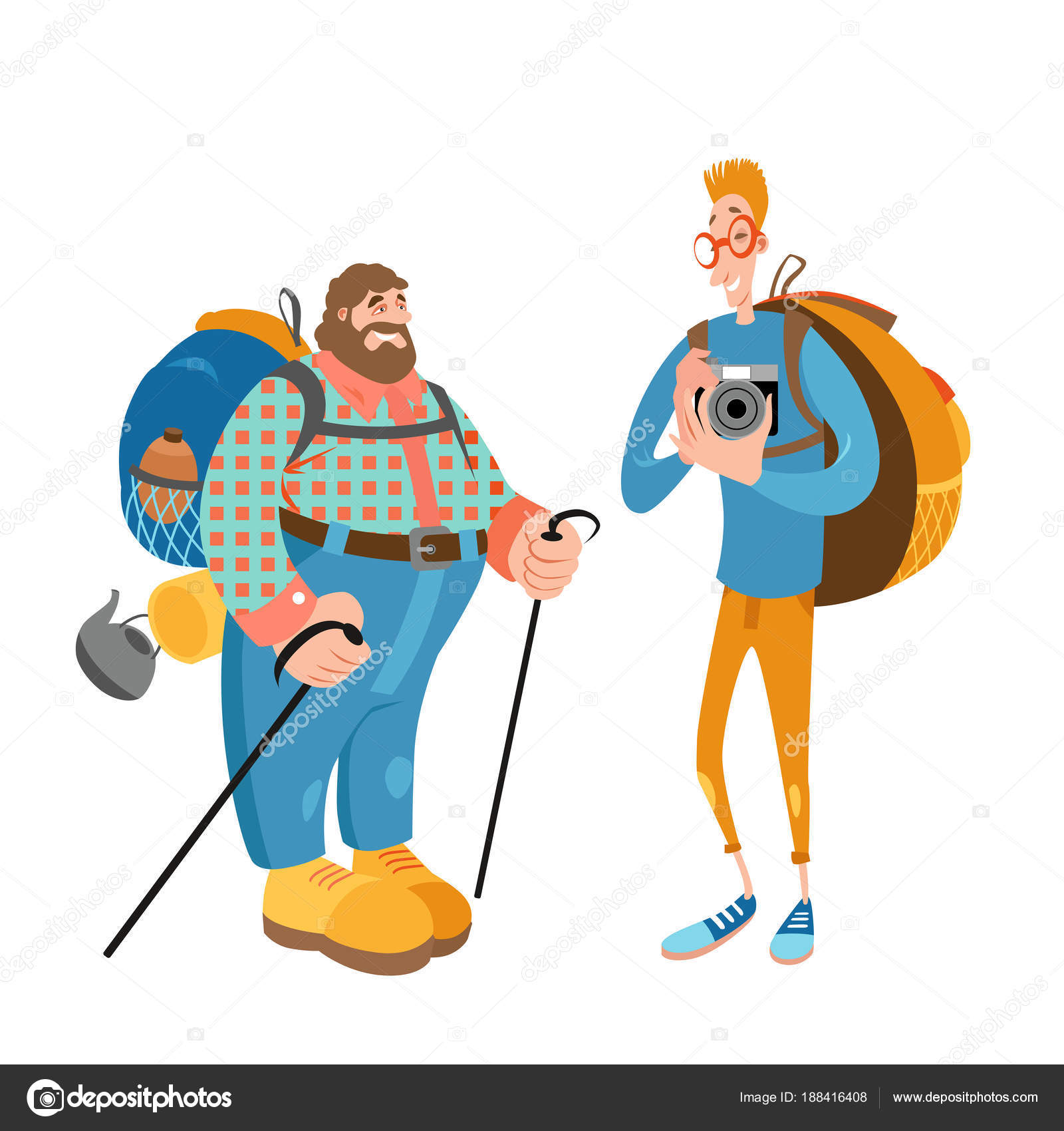 two funny cartoon characters are engaged in hiking. friends travel