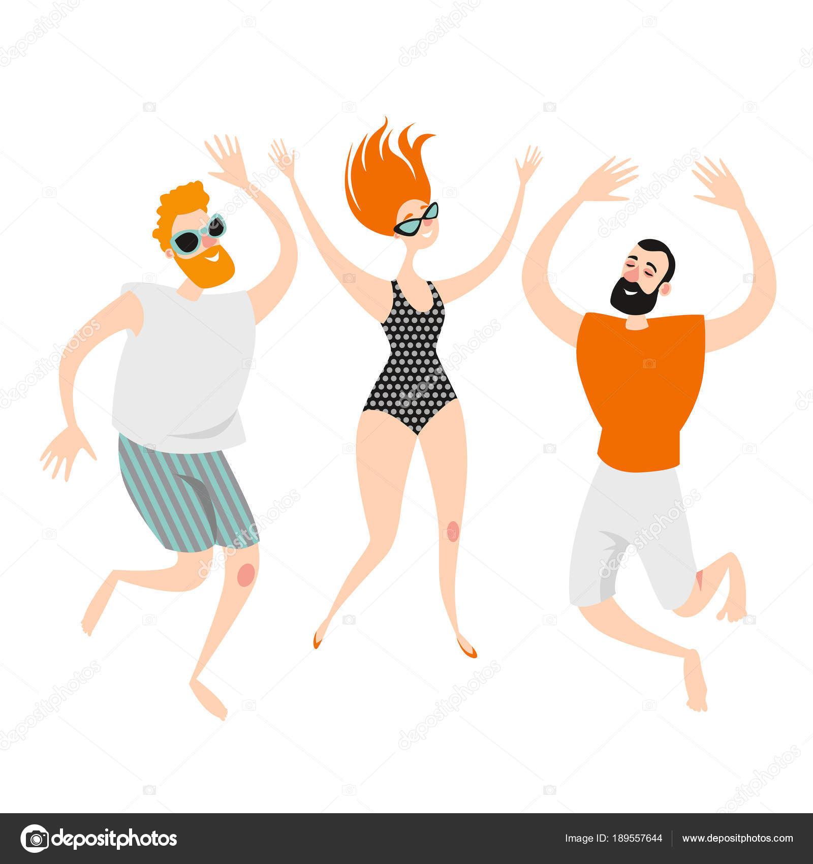 d1339c2e3a Three funny cartoon characters jumping on the beach in swimming suits and  shorts. Young boy and girl dancing at a beach party. Vector illustration on  white ...