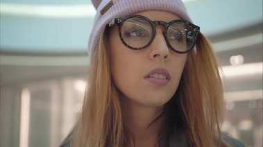 A young hipster female portrait in the store