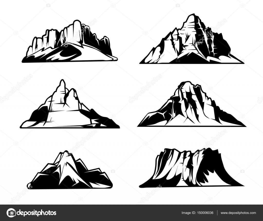 白黒山はベクトル シルエットです雪に覆われた山脈屋外デザイン要素