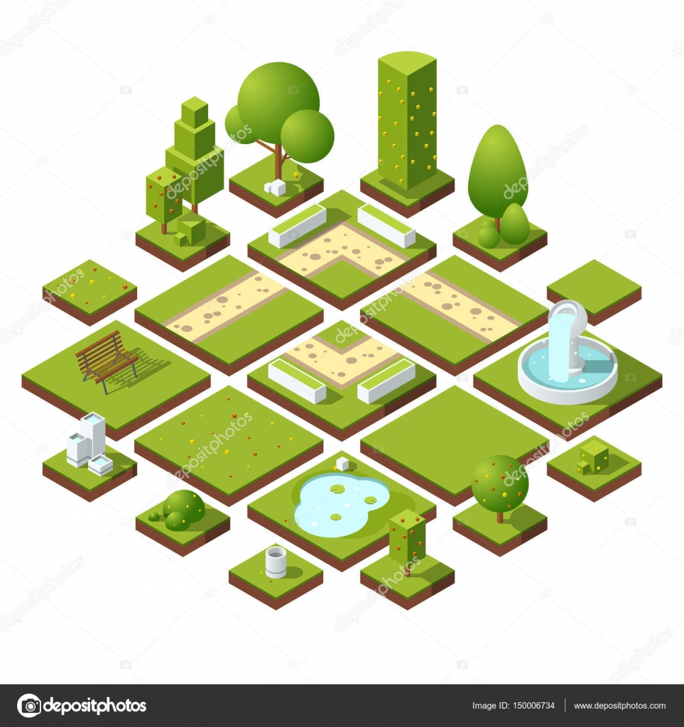 Isometric urban elements and garden decoration. Benches, fountain ...