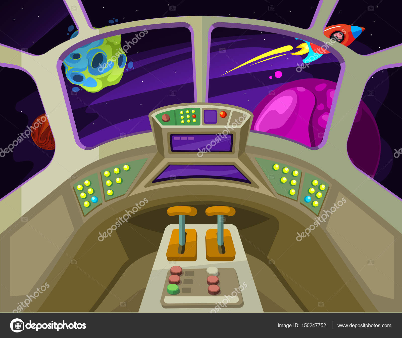 Cartoon spaceship cabin interior with windows into space