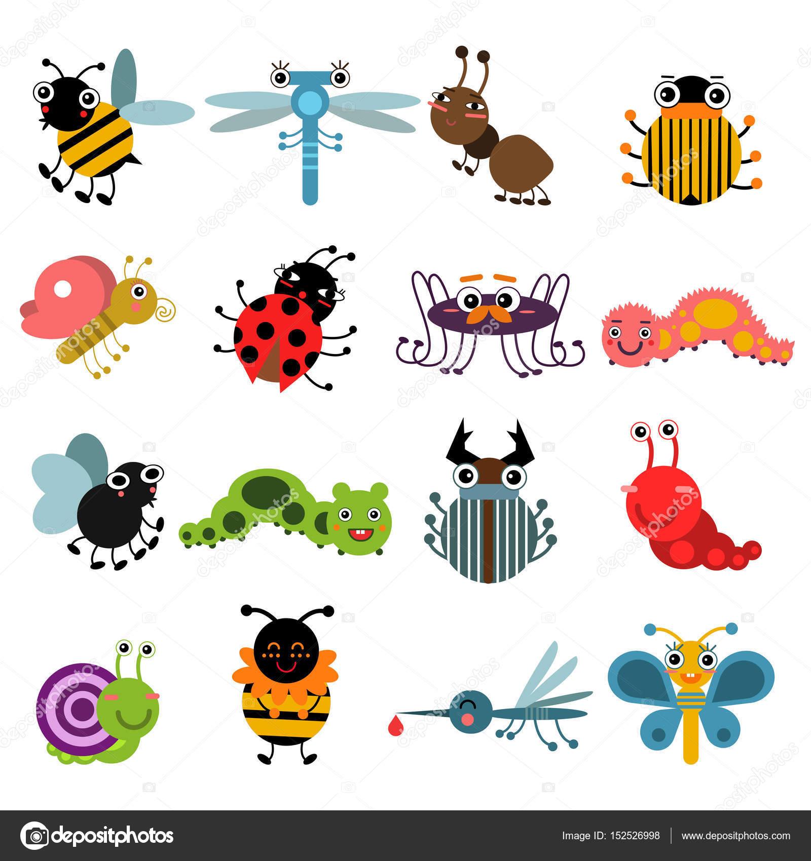 漫画虫および昆虫白い背景のベクトル イラスト セットを分離します