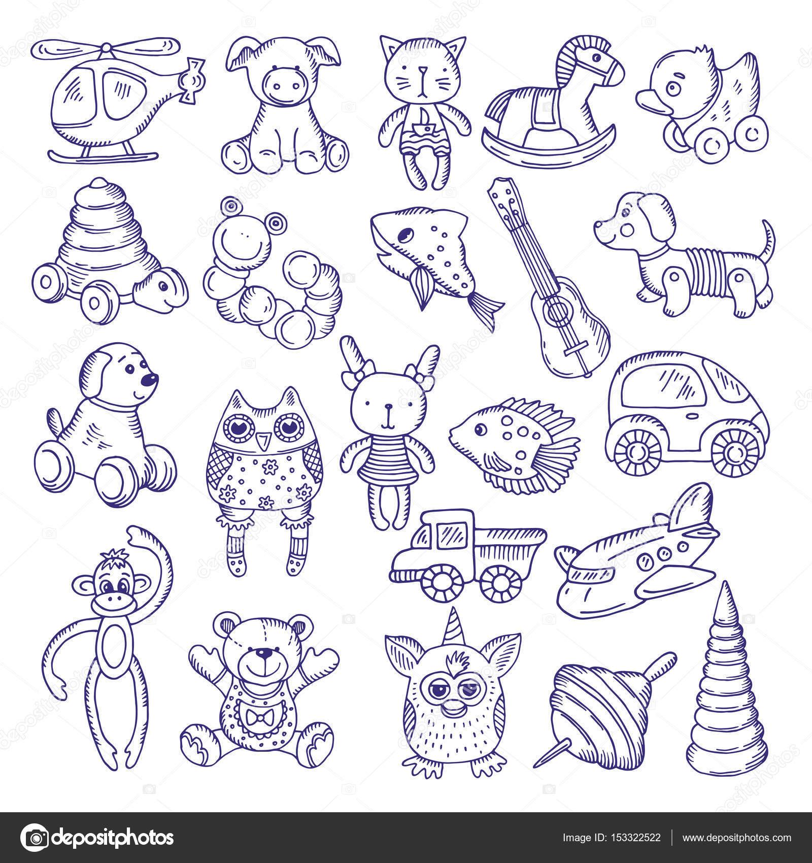 Dibujado a mano doodle juguetes para los niños. Aislar a bocetos de ...