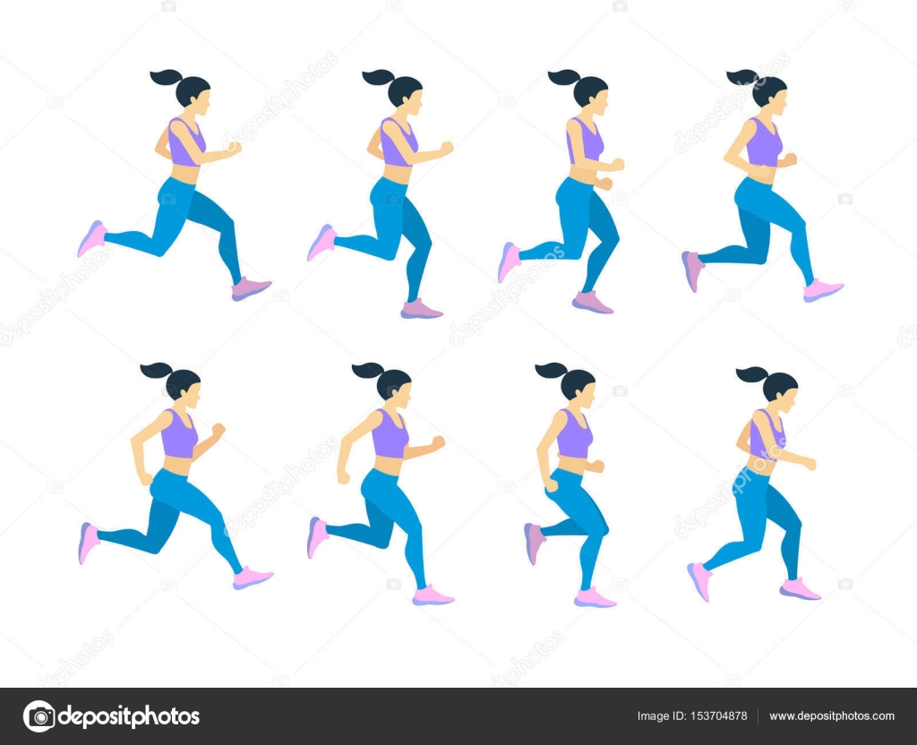 Running girl young female athlete in tracksuit. Vector set of ...