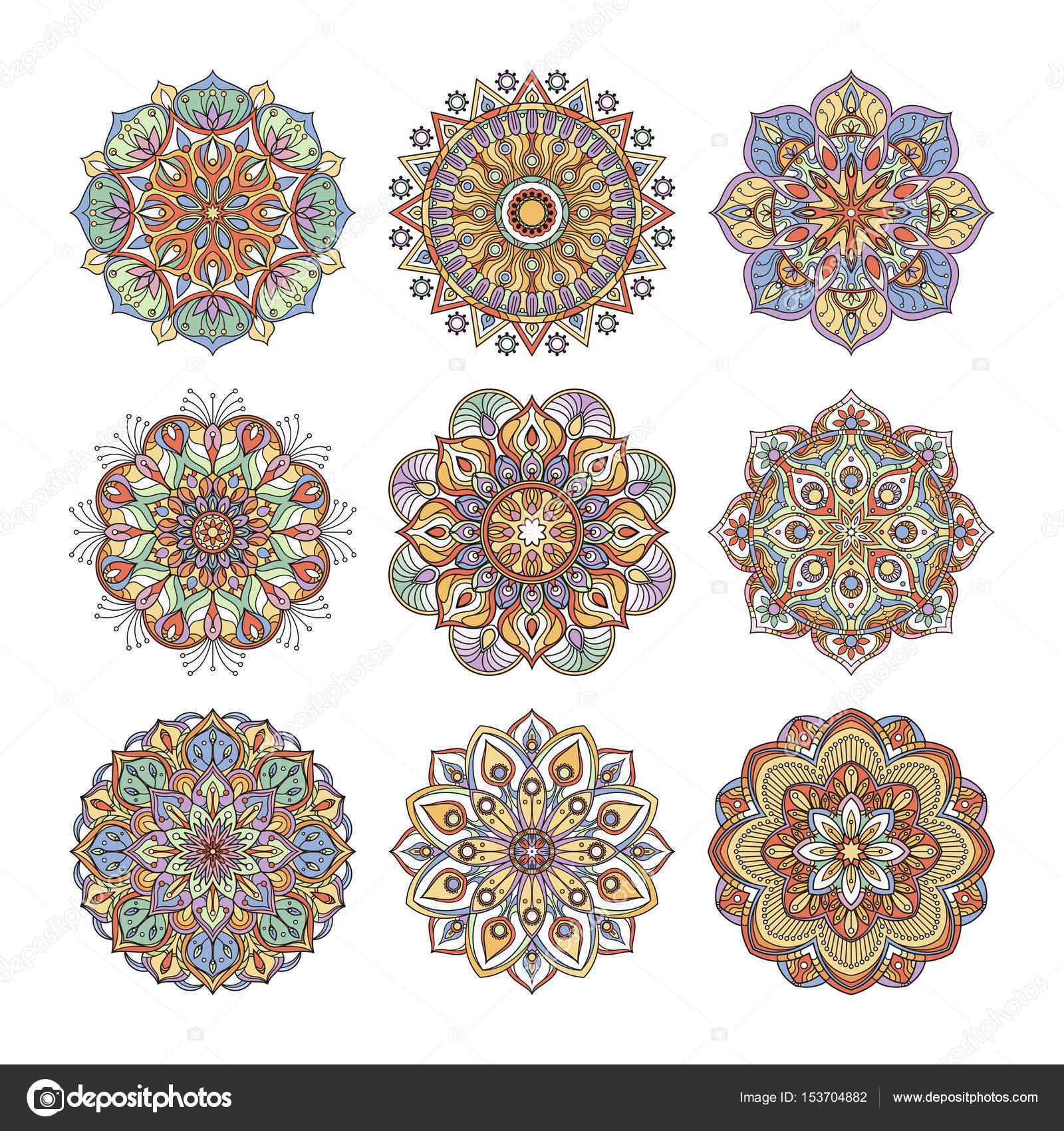 Patron Floral De Chino E Indio Conjunto De Mandalas Indios De Color - Mandalas-indios