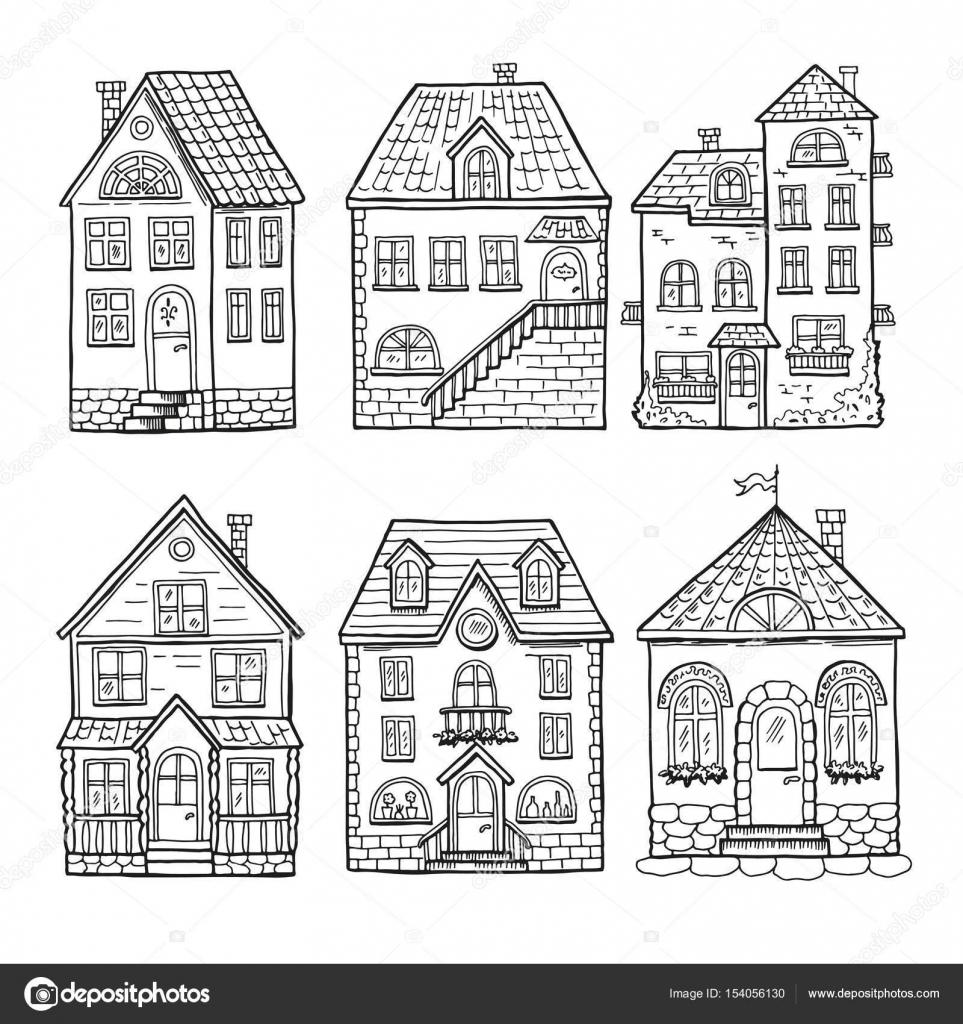 Lovely Niedliche Kleine Häuser Und Verschiedene Dächer. Doodle Vektor Illustration  Von Zu Hause U2014