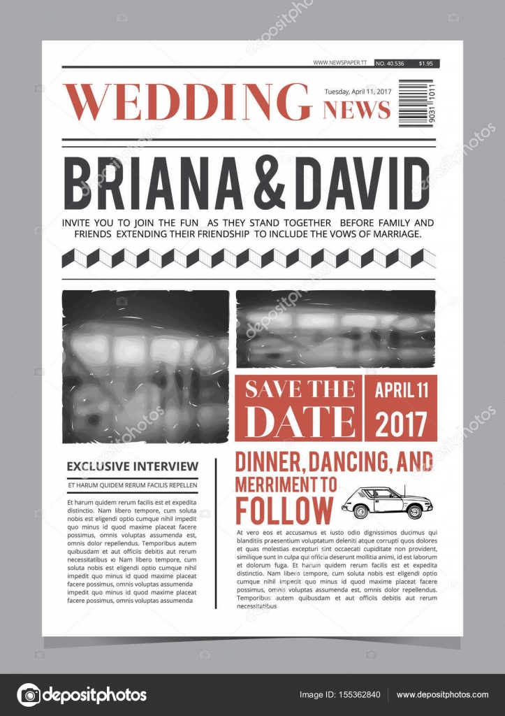 Wedding Invitation On Newspaper Front Page. Design Vector Layout Template U2014  Stock Vector #155362840