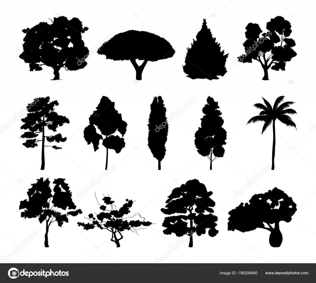 別の木シルエットの白黒イラスト ストックベクター Onyxprj 156208480