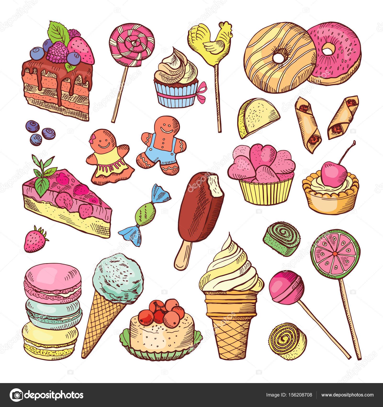Coloriage Gateau Bonbon.Desserts De Mariage Les Gateaux De Bonbons Et Glaces Dessines A La