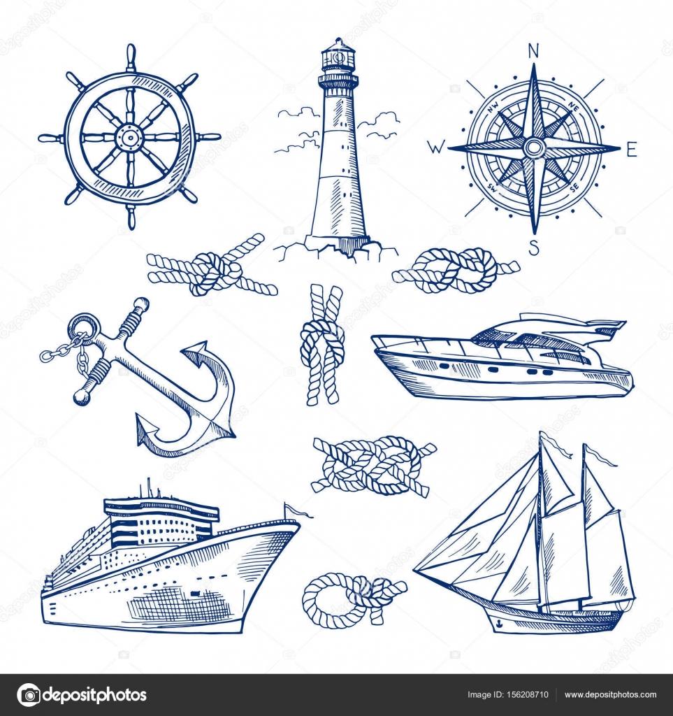 Marina doodles conjunto con buques, embarcaciones y náuticas anclas ...