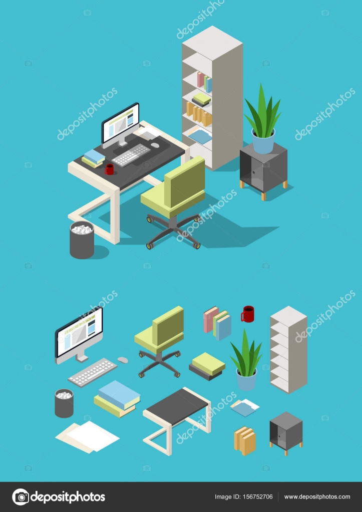 isometric office furniture vector collection. Isometric Office Workspace With Different Furniture And Elements. Table, Chair Computer, Lamp Flowers. Business For Workplace, Vector Collection C