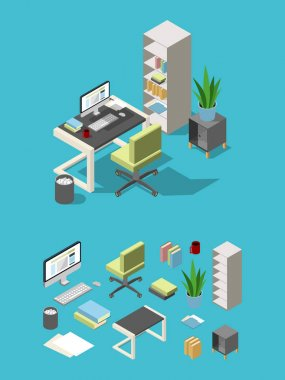 Isometric office workspace with different furniture and elements. Table, chair and computer, lamp and flowers