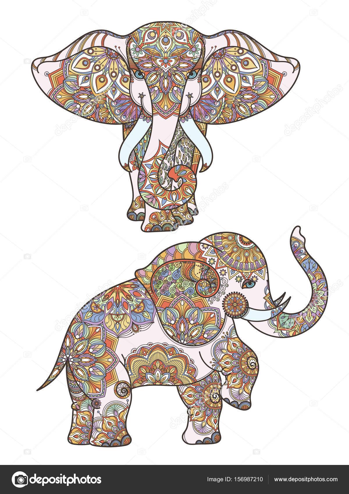 Silueta de africana decoración elefante y mandalas en él del ...