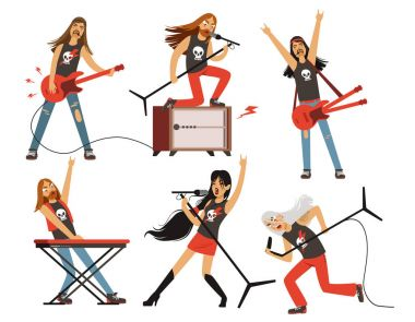 Guitar, amplifier and other music equipment. Rock or pop band characters. Vector illustrations set