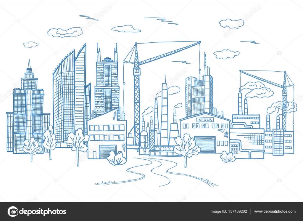 Paisaje de gran ciudad con edificios diferentes. Vector ...