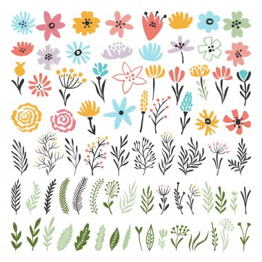 "Картина, постер, плакат, фотообои ""different florals elements for your design project. vector illustration of plants"", артикул 157409300"